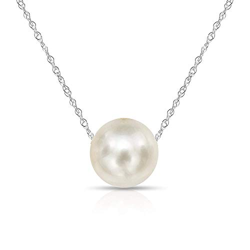 Mm 10.5 Pearl White - 14K White Gold Chain with 10-10.5mm White Freshwater Cultured Pearl Floating Pendant Necklace, 18