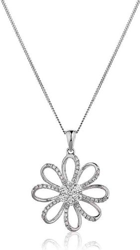 0.50CT Certified G/VS2 Cluster Centre Large Flower Diamond Pendant in 18K White Gold