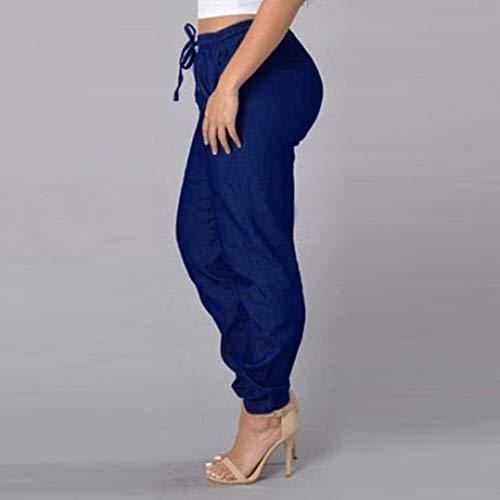 lastique Taille Fonc Denim Bringbring Bleu Bleu Chic Taille Jean Femme Dcontract Pants Haute Pantalon qHpOtnz4X