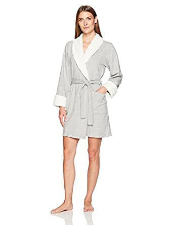 Arabella Women's French Terry and Shaggy Plush Short Wrap Robe, Heather Grey, Small
