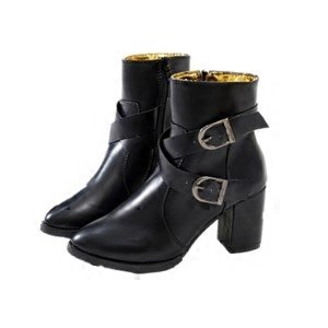 KHSKX-High Heel High Heel Shoes Female Boots Chelsea Boots English Wind Belt Buckle And Cashmere Thirty-eight ubZaLR0