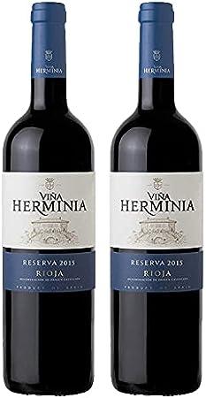 Vino Tinto Viña Herminia Reserva 2015 de 75 cl - D.O. Rioja - Bodegas Grupo Caballero (Pack de 2 botellas)