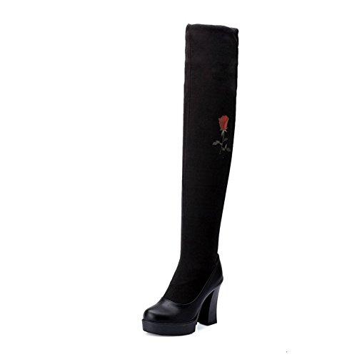 VogueZone009 Damen Gemischte Farbe Blend-Materialien Hoher Absatz Ziehen auf Stiefel Schwarz