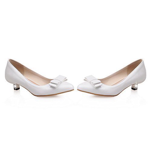 BalaMasa Womens Bows Low-Cut Uppers Pointed-Toe Urethane Pumps Shoes White NGrs0cS