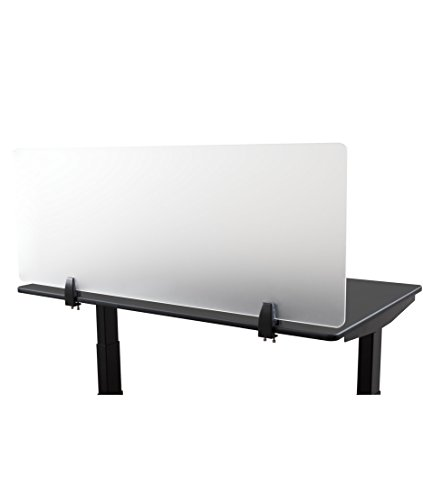 Desk Mounted Privacy Panel - Frosted Desk Divider and Office Partition for Desks Up to 1 Thick (48 Wide, Frosted)
