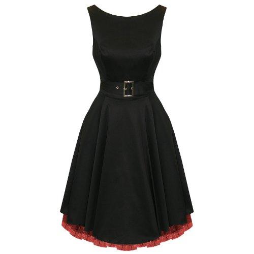 Hearts and Roses London Noir Évasé Années 1950 Robe De Bal De Soirée Vintage avec exclusivité Starlet Sac Fourre-tout