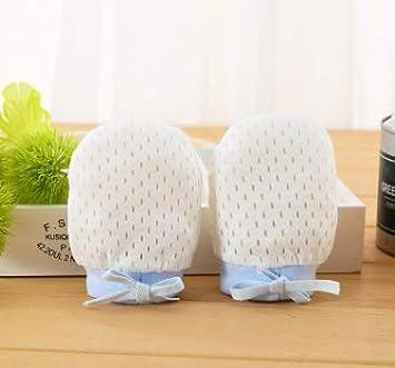 wiwi. F cotone ghiaccio seta Baby Guanti anti Tomba coulisse regolabile Antigraffio Viso Neonati Baby Guanti 1Coppia