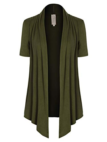 MixMatchy Women's [Made in USA] Solid Jersey Knit Short Sleeve Open Front Draped Cardigan (S-3XL) Olive 2XL