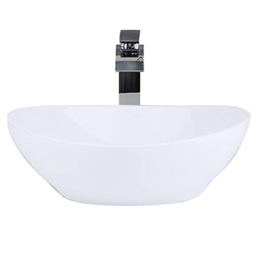 Holarose Oval Ceramic Vessel Sink, Round Above Counter Porcelain Ceramic Bathroom Vanity Sink Oval
