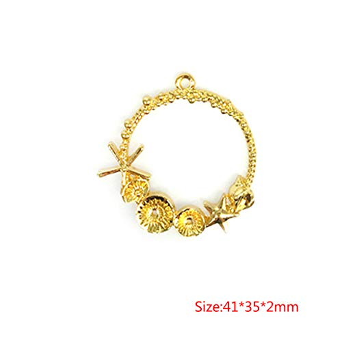 SprinZ DIY Epoxy Resin Metal Frame Exquisite Decoration Starfish Shell Golden Crafts Mold Ring Pendant Jewelry Making UV Charms Tools (Resin Metal)