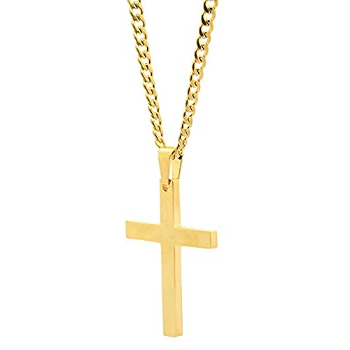 Mens gold cross pendant amazon mens and ladys stainless steel gold tone plain cross medal pendant 4mm 24 cuban necklace chain aloadofball Choice Image