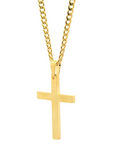 Men's and Lady's Stainless Steel Gold Tone Plain Cross Medal Pendant 4mm 24