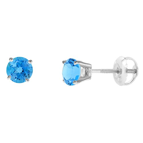 4mm 14k White Gold Natural Swiss Blue Topaz Stud Earrings Screw Back Round 0.25 carat - Topaz Blue Screw