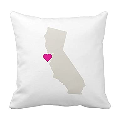 Square Custom California State Love Reversible Pillow Cover Cotton Pillowcase Cushion Cover 16 X 16