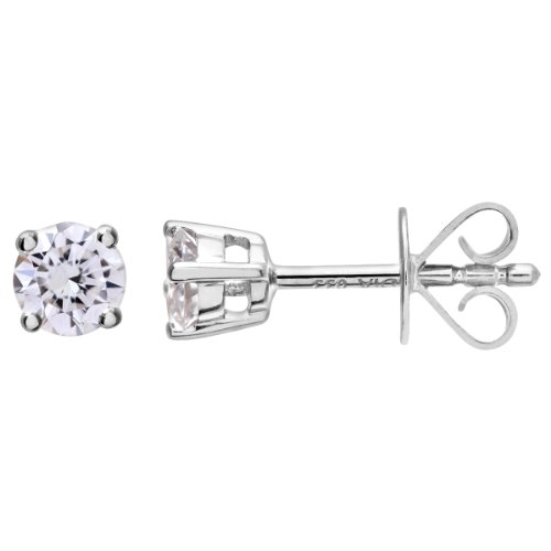 Revoni-Boucles d'Oreilles Clous Femme-Diamant rond brillant certifié IJ/I, or blanc 18carats Diamant Boucles d'oreilles, 0,33carats Poids du Diamant