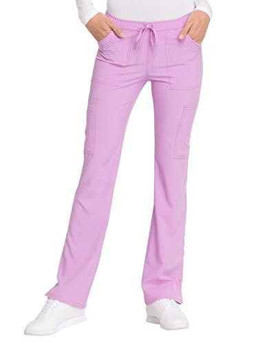 (HeartSoul Womens HS025 Low Rise Drawstring Cargo Scrub Pant Sweet Lilac Medium)