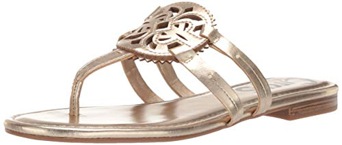 (Circus by Sam Edelman Women's Canyon Flat Sandal, Molten Gold New Metal Grain, 5 M US)