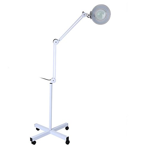 (8X Magnifying LED Lamp, Floor Stand with 4-Wheel Rolling Base & Adjustable Height Cold Light for Skincare Beauty Cosmetic Tattoo Manicure Lighted Magnifier Salon Spa CE FDA)