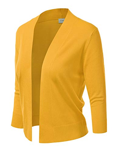 JJ Perfection Women's Basic 3/4 Sleeve Open Front Cropped Cardigan