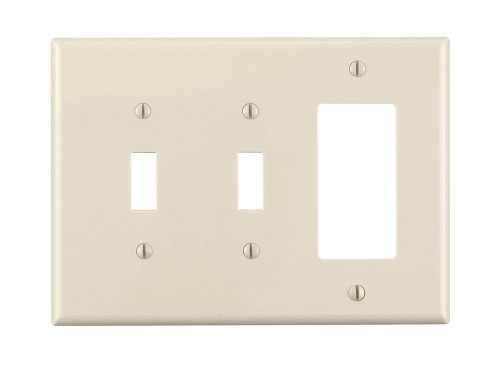 Leviton PJ226-T 3-Gang 2-Toggle 1-Decora/GFCI Combination Wallplate, Midway Size, Light Almond - 1 Gang Almond