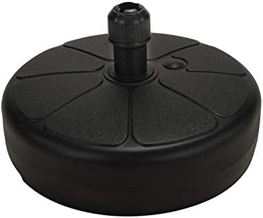 SUNDEE 18.9 Fillable Patio Round Umbrella Base Stand for Outdoor Garden Water Sand Filled Parasol Base Pole Holder – Black