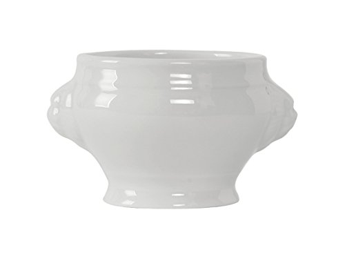 Tuxton GLP-301 Vitrified China Linx Lion Head Soup Tureen, 8 oz, Porcelain White (Pack of 12),