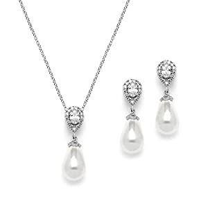 Mariell Cubic Zirconia and Ivory Teardrop Pearl Wedding Jewelry Set - Genuine Silver Platinum Plated