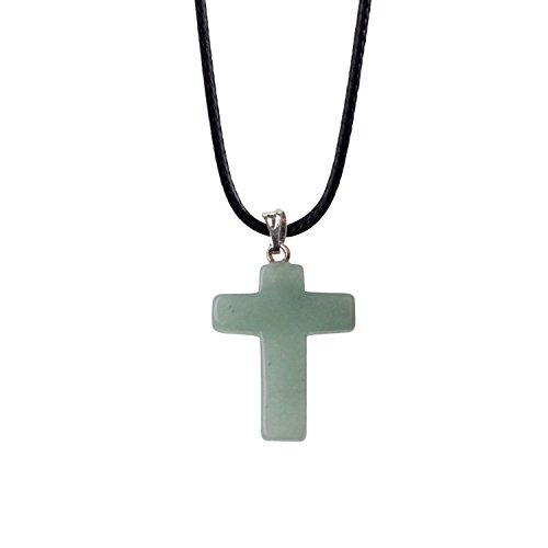 ZHEPIN Bless Gems Cross Pendant Necklace Healing Gemstone Symbol of Salvation, Good News