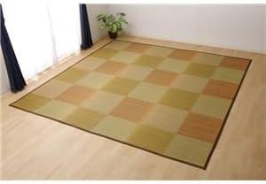 い草ラグ 花ござ カーペット ラグマット 2畳 格子柄 市松柄 『ピーア』 ブラウン 本間2畳 (約191×191cm)