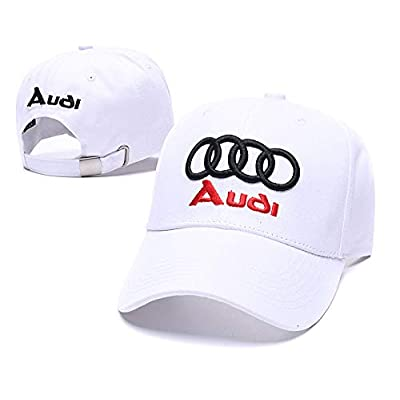 Wesport Embroidered Logo Solid Color Adjustable Baseball Caps for Men and Women Travel Cap Racing Motor Hat Fit Audi (White): Automotive