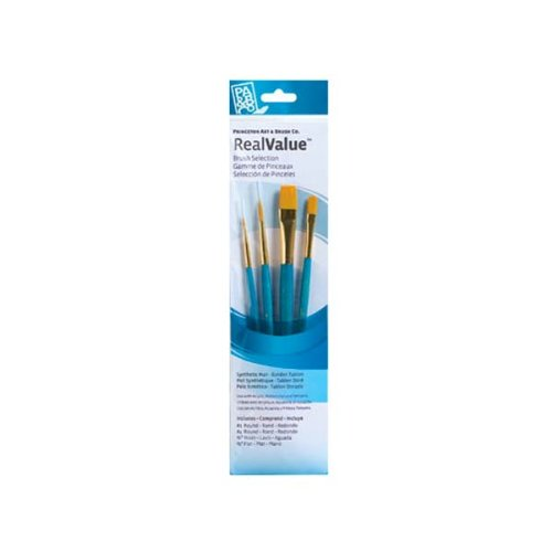 Princeton Art & Brush Real Value Synthetic Brush Set, Round Size 1 and 4, Wash Size 1/4, Flat Size 1/2, Gold Taklon