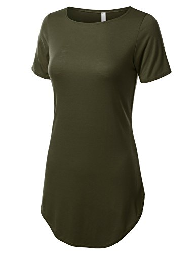 URBANCLEO Womens Side Slit Casual Beach Mini T Shirt Dress Jersey Olive S 2XL