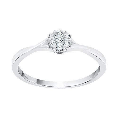 - KATARINA Prong Set Diamond Cluster Engagement Ring in 14K White Gold (1/6 cttw, I-J, I1-I2) (Size-6)
