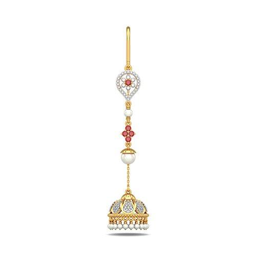 14K Or jaune 0.56CT TW White-diamond (IJ | SI) et rubis et blanc perle Boucles d'oreilles