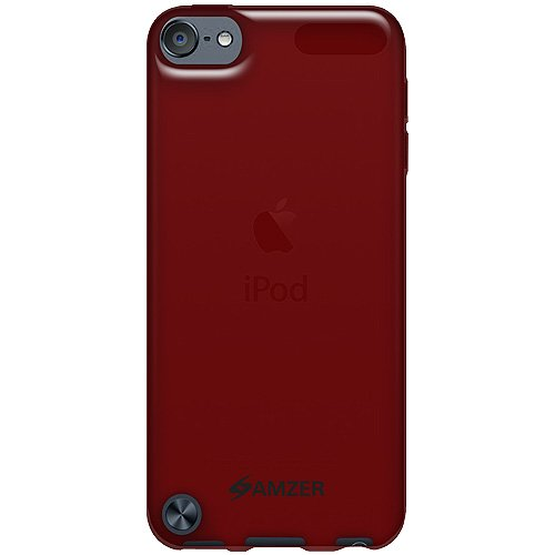 Amzer Soft Gel TPU Gloss Skin Fit Case Cover for Apple iPod Touch 5G (Translucent Red)