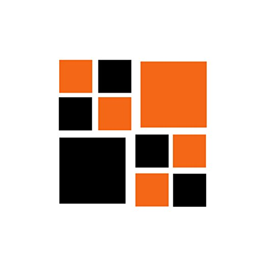 Set of 60 - Orange / Black Squares Vinyl Wall Decals Stic...