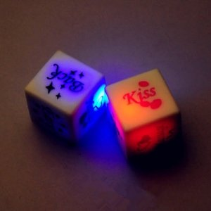 A Pair Set LED Glow Dices Game Toy for Sex Party Fun Adult Couple Novelty Gift White/ Transparent Orange (Random)