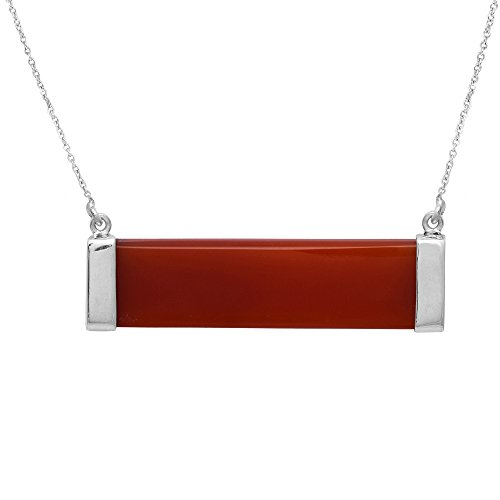 Shine Jewel Carnelian Red Onyx Rectangle Pendant Necklace with Chain for women 925 silver
