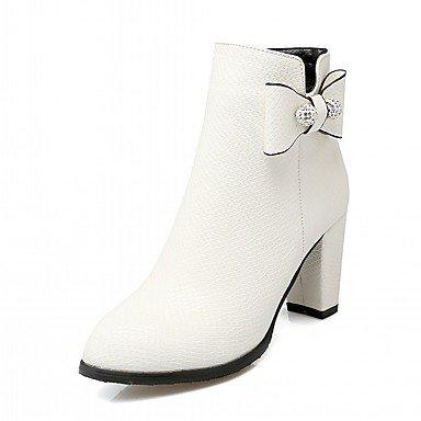 RTRY Zapatos De Mujer De Piel Sintética Pu Novedad Moda Otoño Invierno Confort Botas Botas Chunky Talón Puntera Redonda Botines/Botines De Fiesta Bowknot US11.5 / EU43 / UK9.5 / CN45