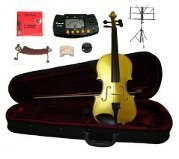 Merano 16'' Gold Viola with Case and Bow+Extra Set of Strings, Extra Bridge, Shoulder Rest, Rosin, Metro Tuner,Black Music Stand, Mute