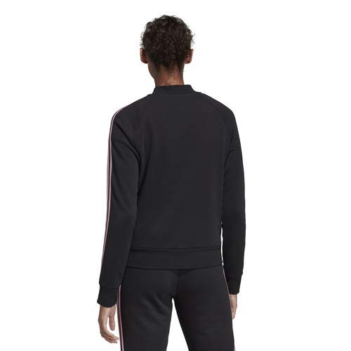 adidas Women's Essentials Color Block Full Zip Bomber Jacket, Dark Grey Heather/Black/True Pink, Medium