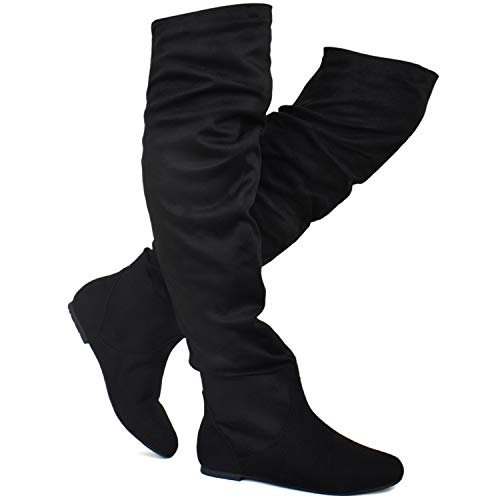 Premier Standard - Women's Slouchy Over Knee High Boots - Comfortable Low Heel Walking Boots, TPS Boots-Iheikciv Black Su Size ()