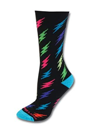 Sports Katz Bolts Crew Socks Black/Multi color S/M