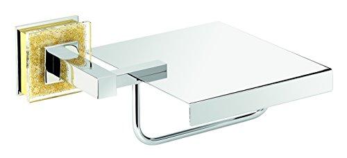 Alexa Chrome-Gold Swarovski Crystals Toilet Paper Holder With Lid by Secret Bath
