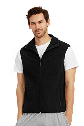 ET TU Men's Zip Up Polar Fleece Vest (M, Black)