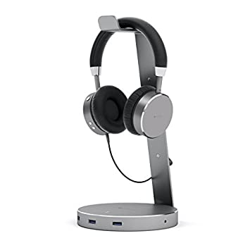 Satechi Aluminium Usb Headphone Stand With Three Usb 3.0 Ports And 3.5 Mm Aux Jack Port – Suitable For All Headphone Sizes (Space Grey) by Amazon