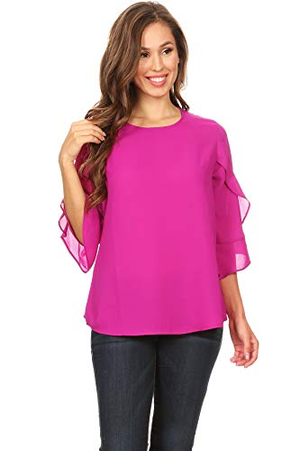 Via Jay Women's Basic Casual Comfortable Relaxed 3/4 Wrapped Bell Sleeve Blouse Chiffon TOP (Small, Orchid)