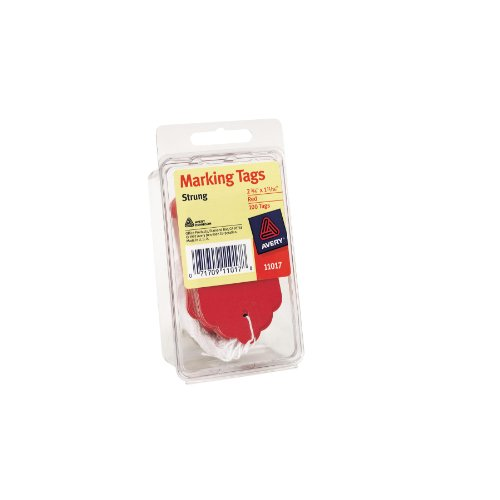 Avery Red Marking Tags, Strung, 2.75 x 1.68 Inches, Pack of 100 (11017) by Avery