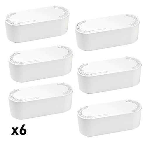 D-Line Cable Management Box 4X (Bulk Deal) Hide Cords and Power Strips in Home or Office (Small, White, Case of 6)