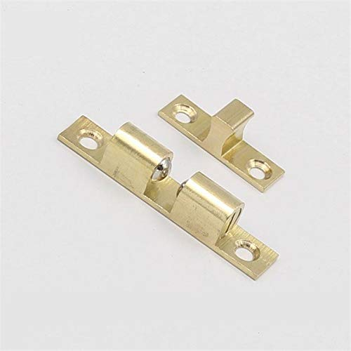 50pcs 60mm Wholesale Pure Copper Cabinet Door Catches Double Ball Latch Clip Lock Touch Beads Bronze Brass Color by Kasuki (Image #3)